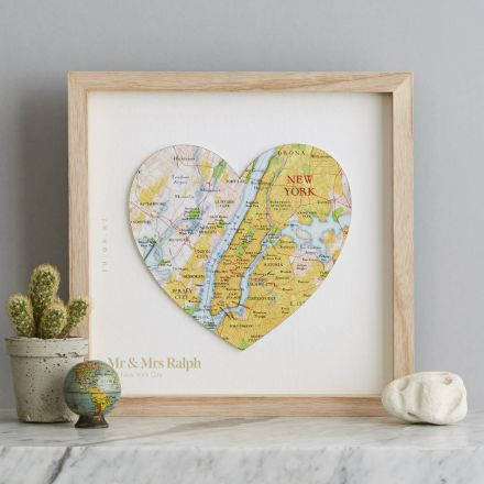 New York map heart with wording