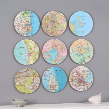 Nine personalised map location circles collectable wall art