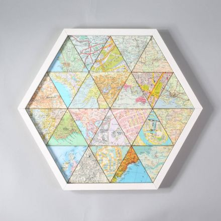 Personalised map hexagon collage