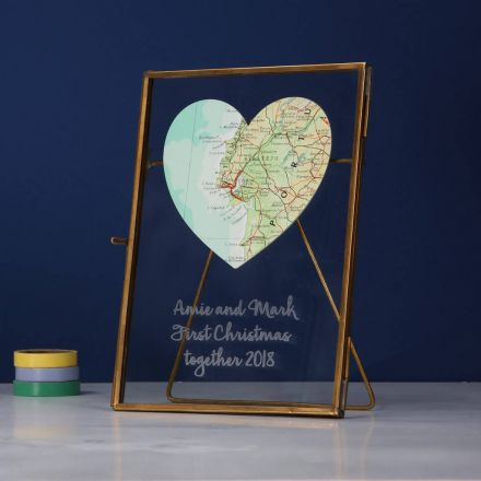 Personalised map location heart card.  White card with map heart and 'Mr and Mrs Carter, 25th July 2016' printed underneath.