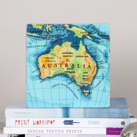 Map wall block. Australia map on solid wooden wall block. Decorative accessory