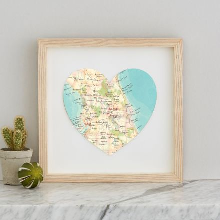 Orlando map heart print in light wood box frame