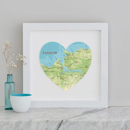Padstow map heart print in white wood frame.