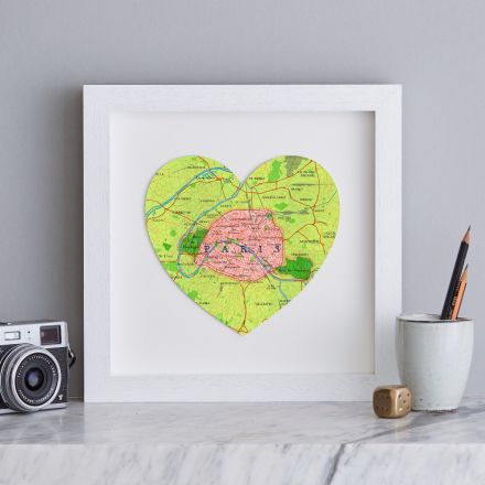 Paris map heart print in white wood square frame.