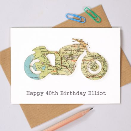 Map motorbike birthday card with printed personalised message.