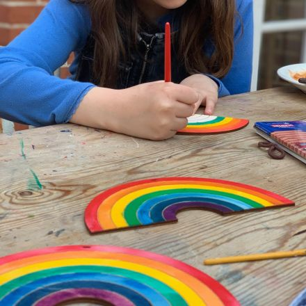 Wooden rainbow to colour in and hang in window
