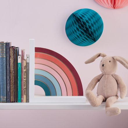 pastel rainbow solid wood bookend. Hand-painted rainbow in pastel colours on white solid wood base.