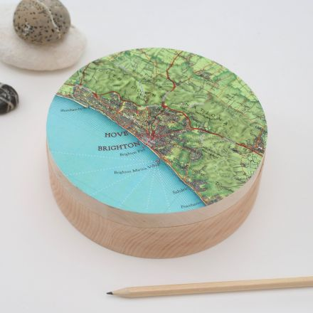 Round wooden map top box featuring map of Brighton