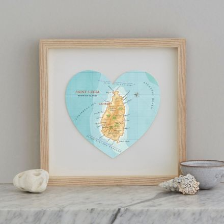 St Lucia honeymoon destination map heart gift in natural wood frame