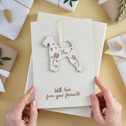 Irish terrier shaped keepsake on a personalised Mother's Day card