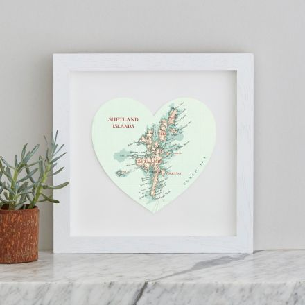 map heart print of the Shetland Islands in white wood box frame.