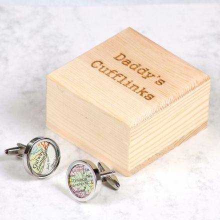 Silver map location cufflinks with wooden box with 'Daddy's cufflinks' engraved on lid.