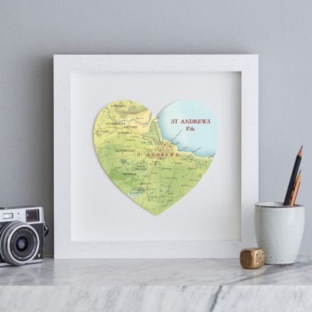 St Andrews map heart with white box frame.