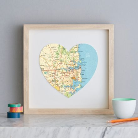 Sydney map heart in white wood square frame.