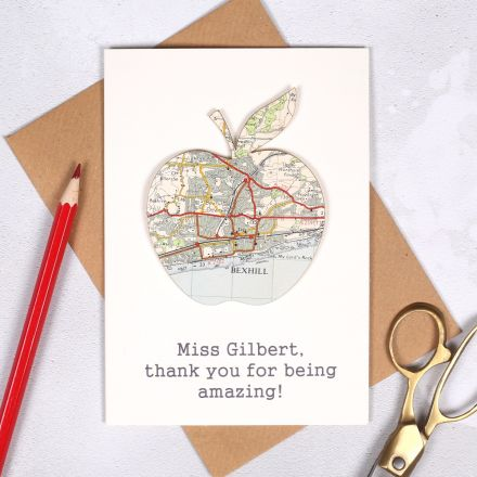 Personalised Map Apple Teachers Card