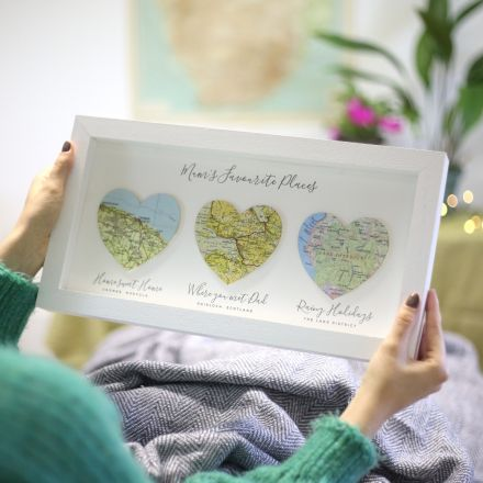 Framed three map hearts gift for Mother's day. Printed personalisation under each heart. White box frame.