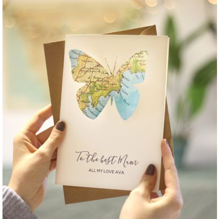 Map butterfly Mother's day card with printed personalised message.