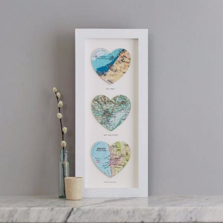 Three map hearts in white frame portrait orientation. With printed personalisation u0027we met & Bombus 1st anniversary gifts | Unique first wedding anniversary ...
