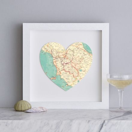 Map heart of Tuscany, Italy in white wood square frame.