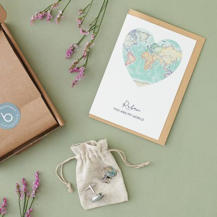 Valentine's letter box gift set for him. Personalised world map card and cufflinks.
