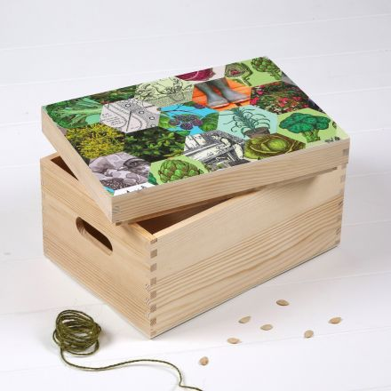 Solid wood storage box for seeds. Patchwork of hexagonal images of leaves and veg decoupaged to lid.