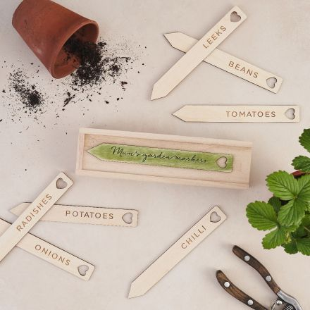 Personalised box of veg and herb plant markers