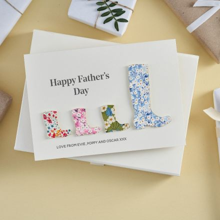 Father's day card with large and small liberty wellies.