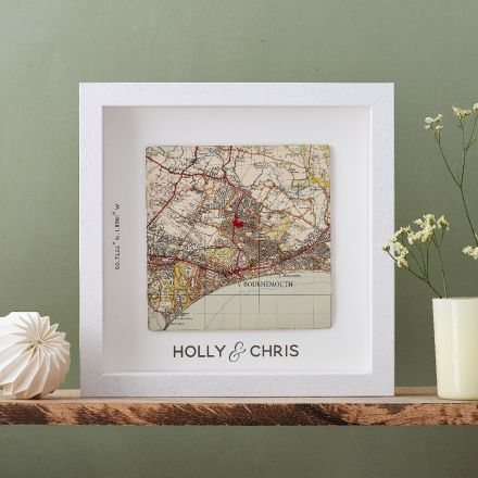 Couples map print gift. Square map mounted on white with white wood box frame. 'Holly and Chris' printed beneath map square.