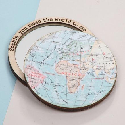 World map compact pocket mirror with 'Sophie, you mean the world to me' engraved around mirror's edge.