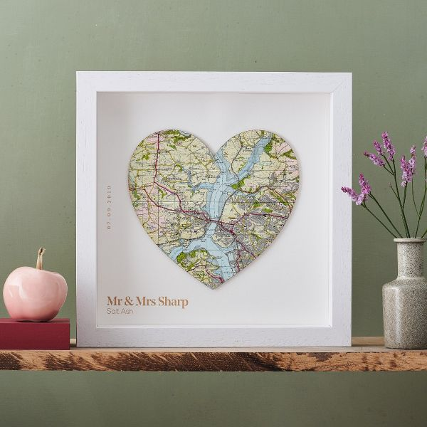 Map heart of Salt Ash floating on white mount in white wood frame. Personalisation printed beneath heart.