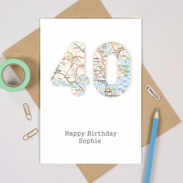 Personalised Special Age Birthday Card Featuring 40 Cut From Map And Happy