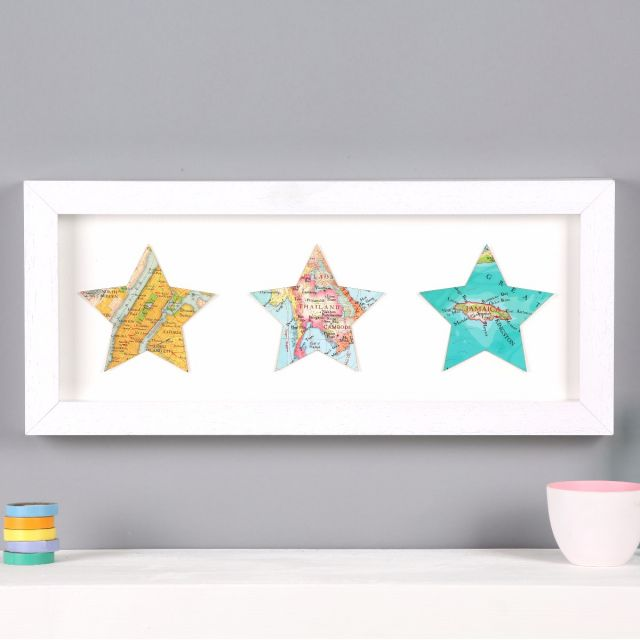 Personalised map location star birthday print | Graduation map star