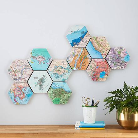Personalised map hexagon wall art