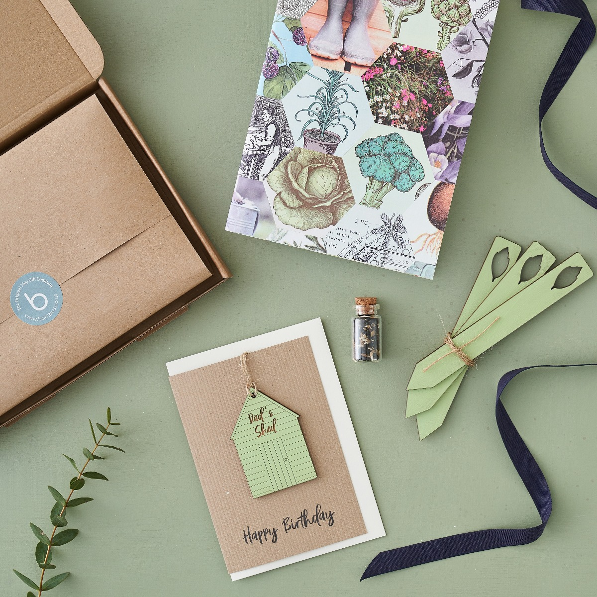 Gardeners Letterbox Gift set with card, notebooks, and gifts.