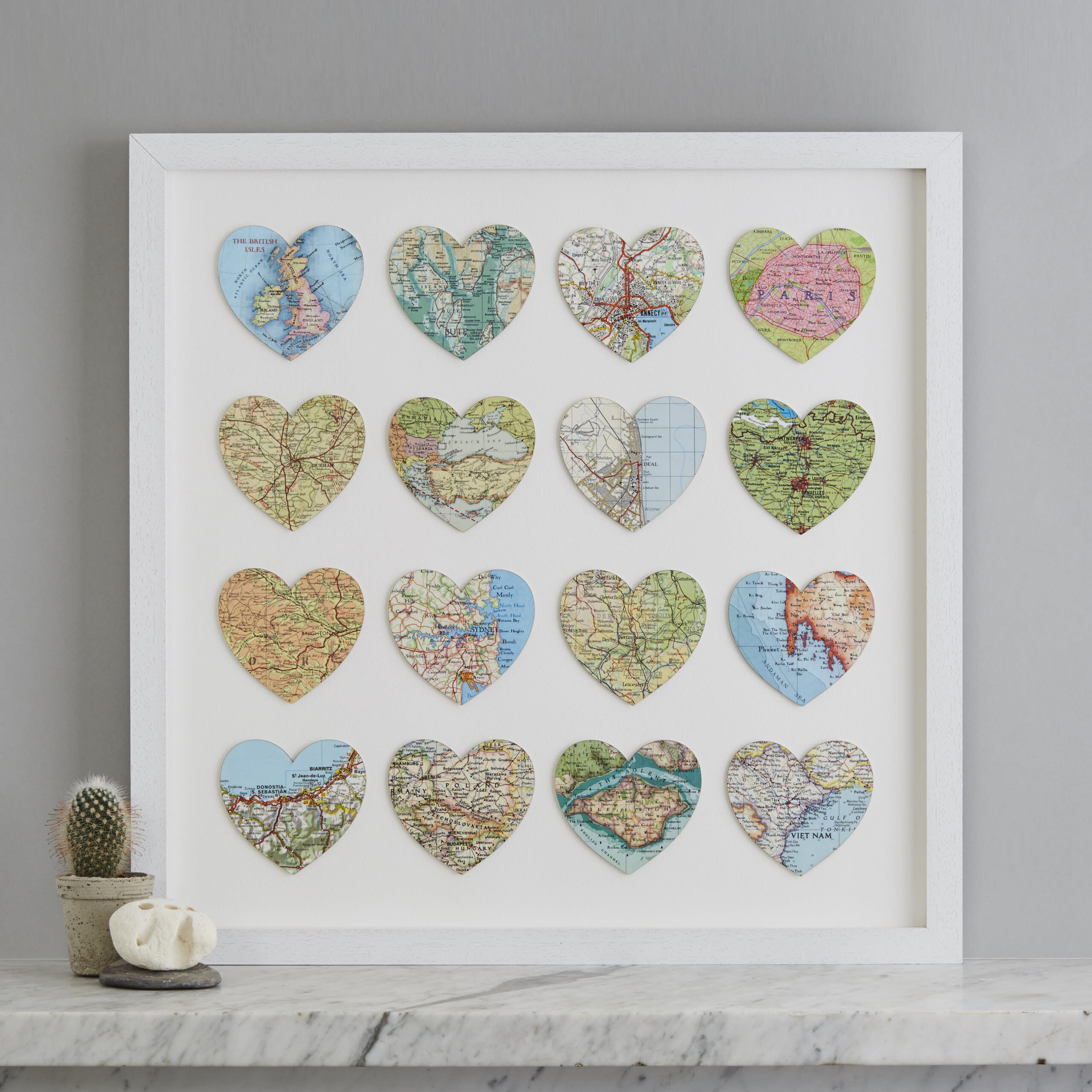 Personalised sixteen map heart artwork anniversary gift