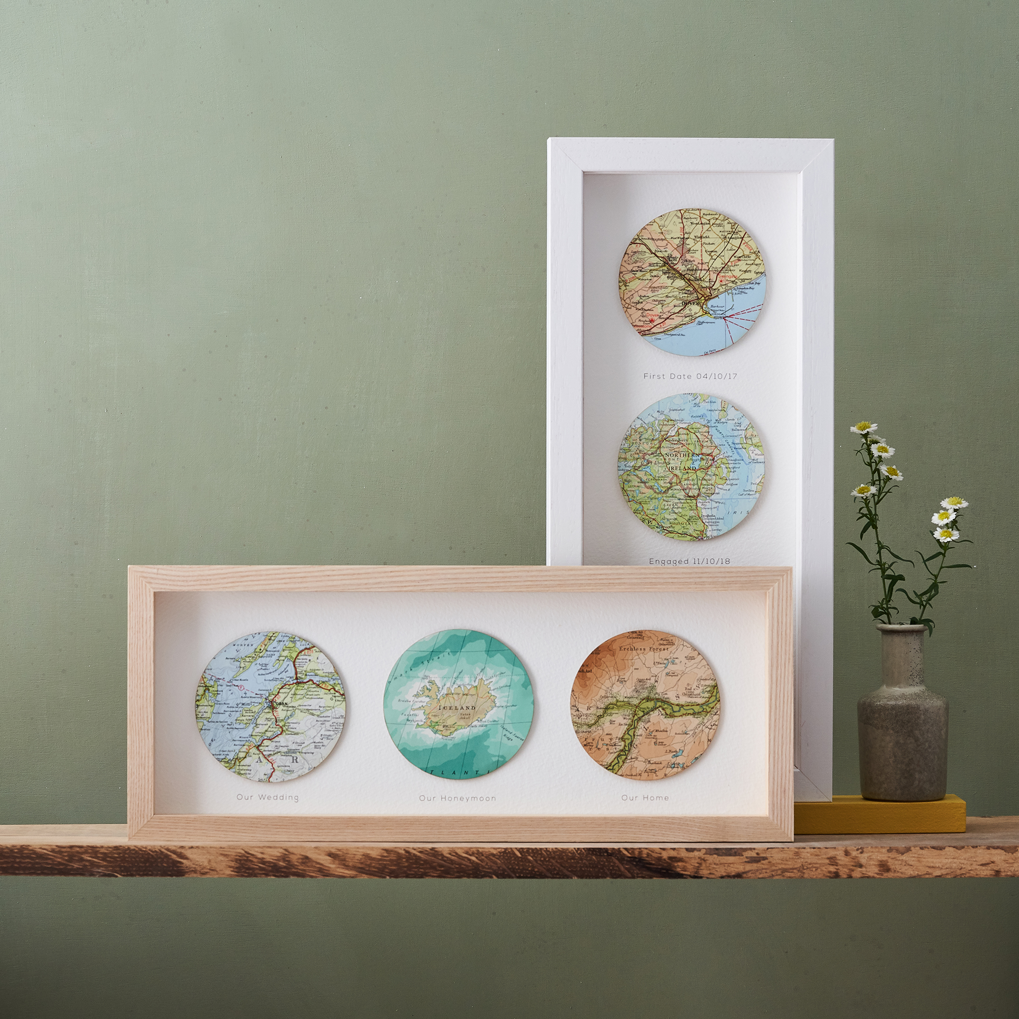 Personalised three map circles artwork as a unique gift idea