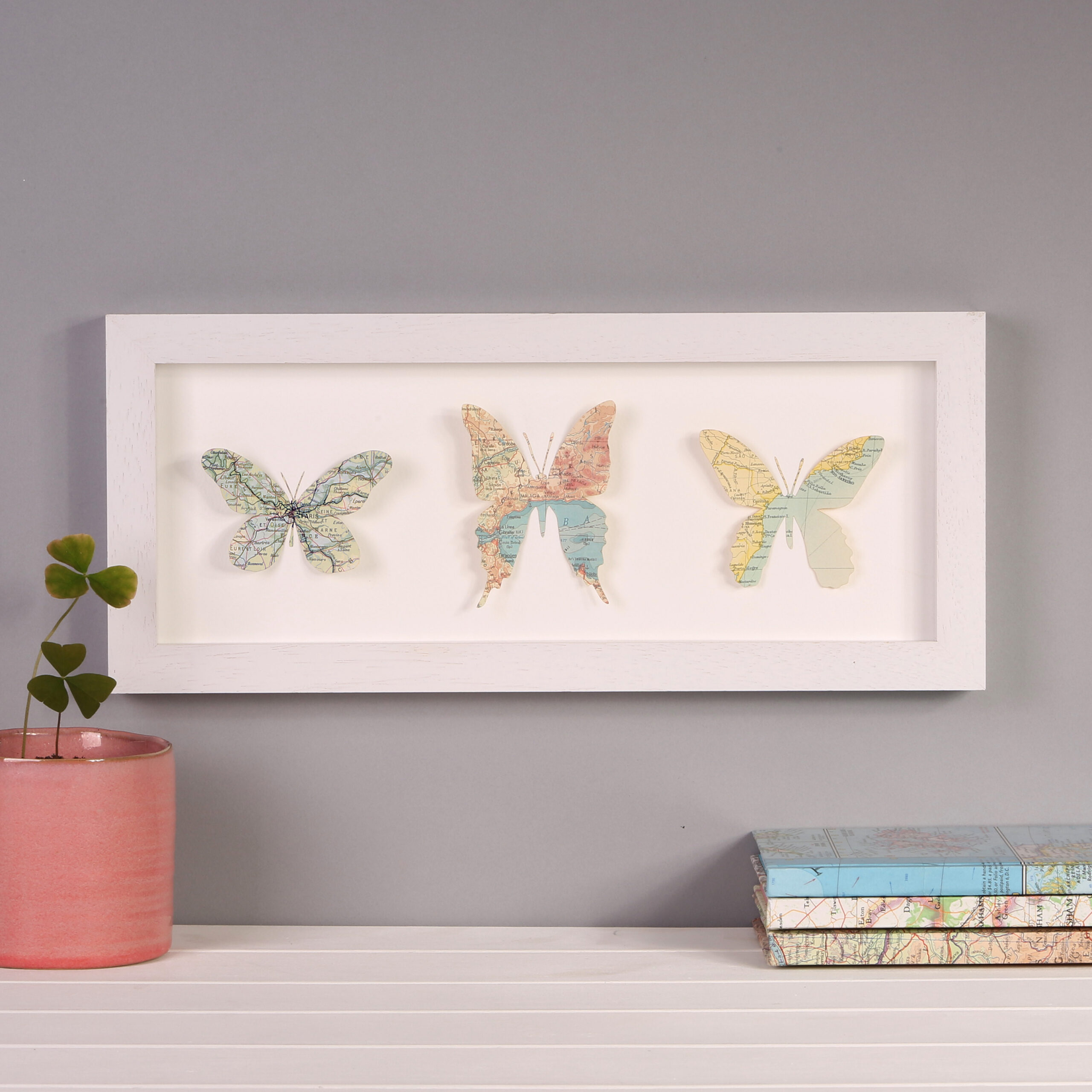 Three map butterfly art work as a perfect gift or unique gift for her