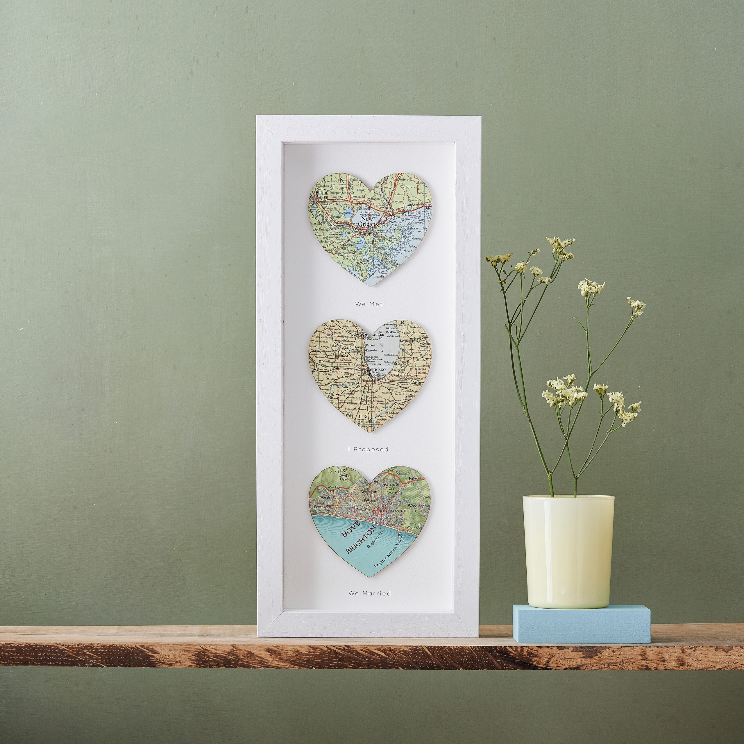 Personalised three map heart artwork as a unique gift idea