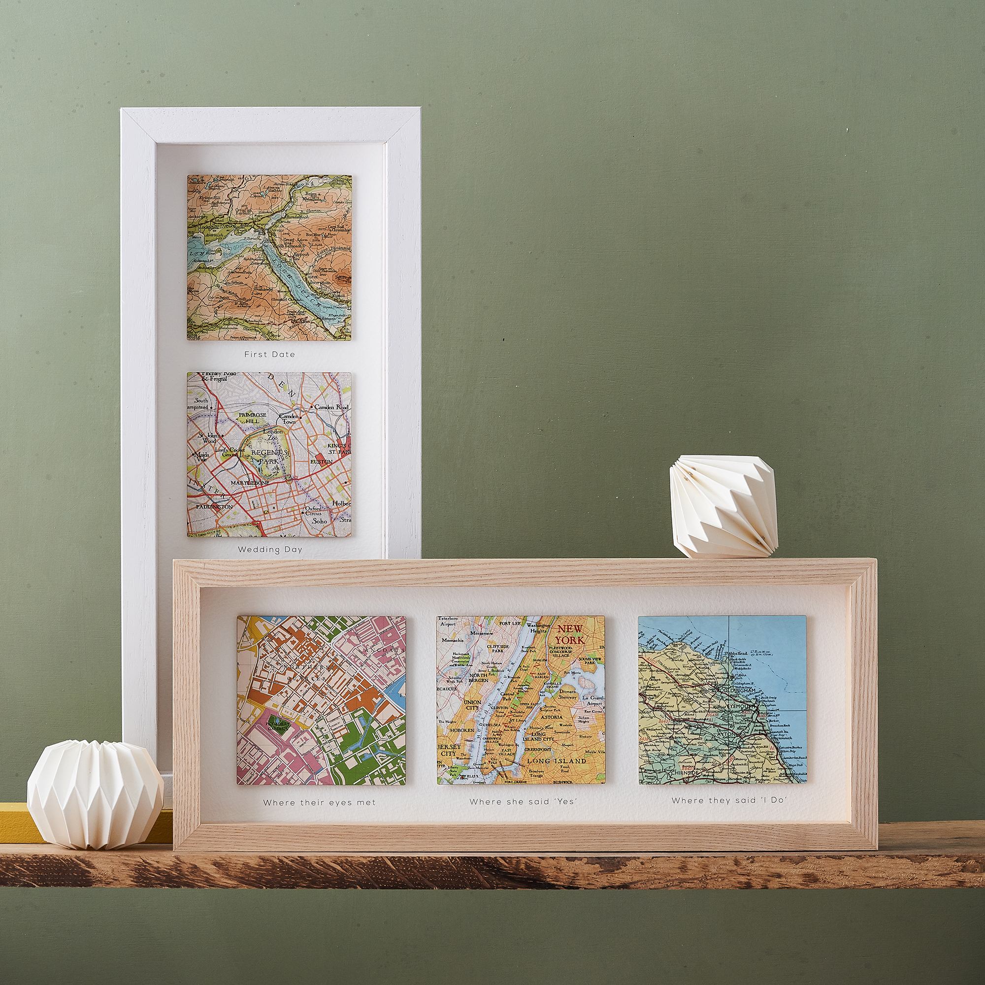 Personalised map gift three square location print