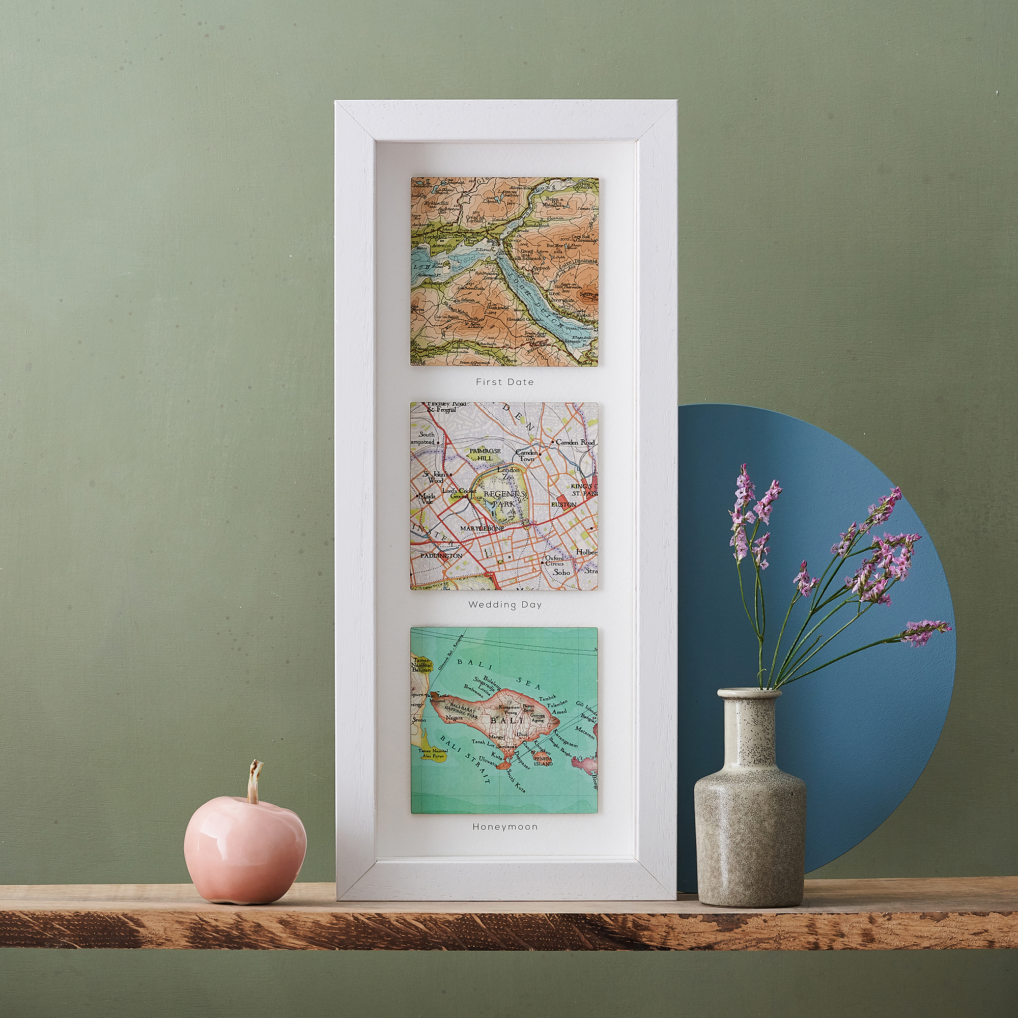 personalised three square map print gift for him