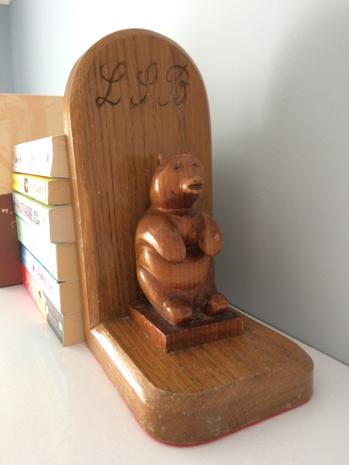 Louise's hand carved bookends, her best gift for her ever from her grandad.