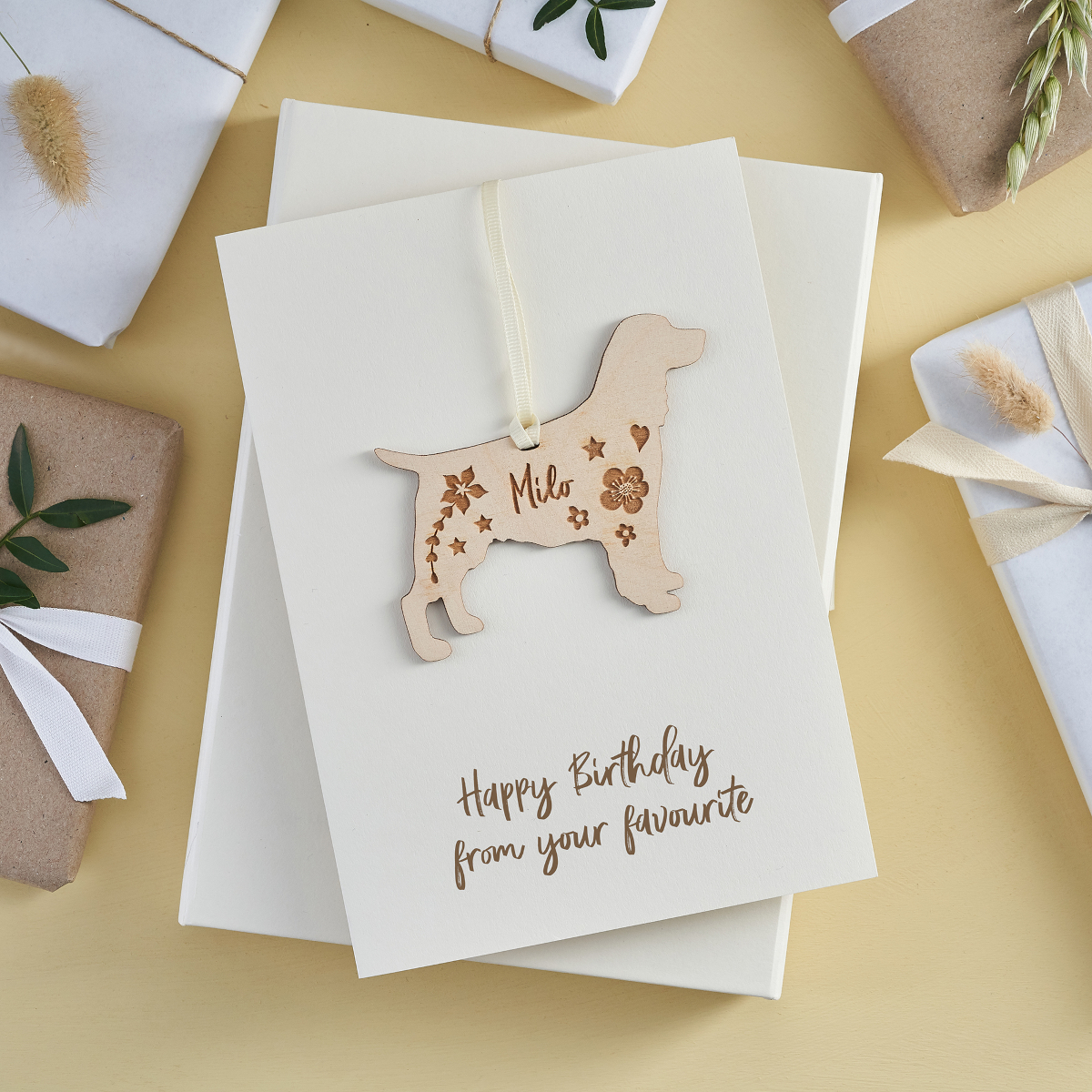 Keepsake card with wooden dog, birthday card for her.