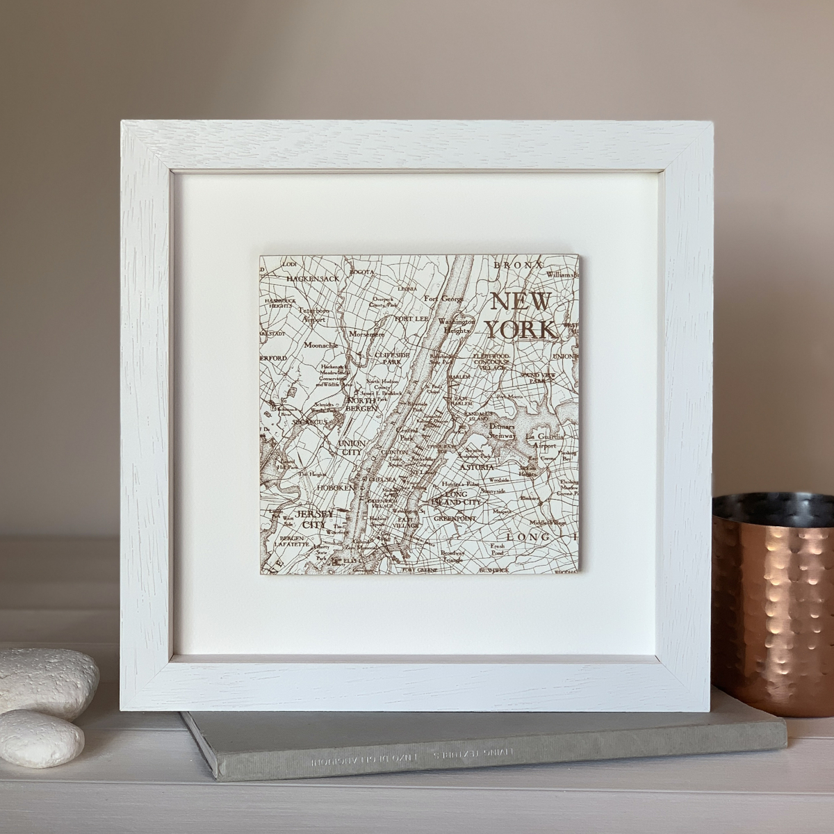 Hand painted engraved map of New York from Bombus, a perfect birthday gift for her
