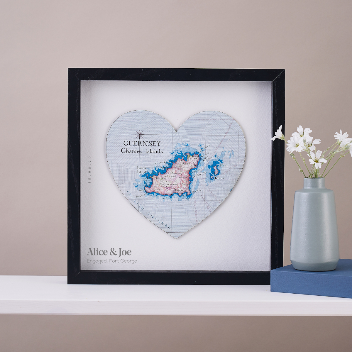 Personalised Map Heart Frame of Guernsey