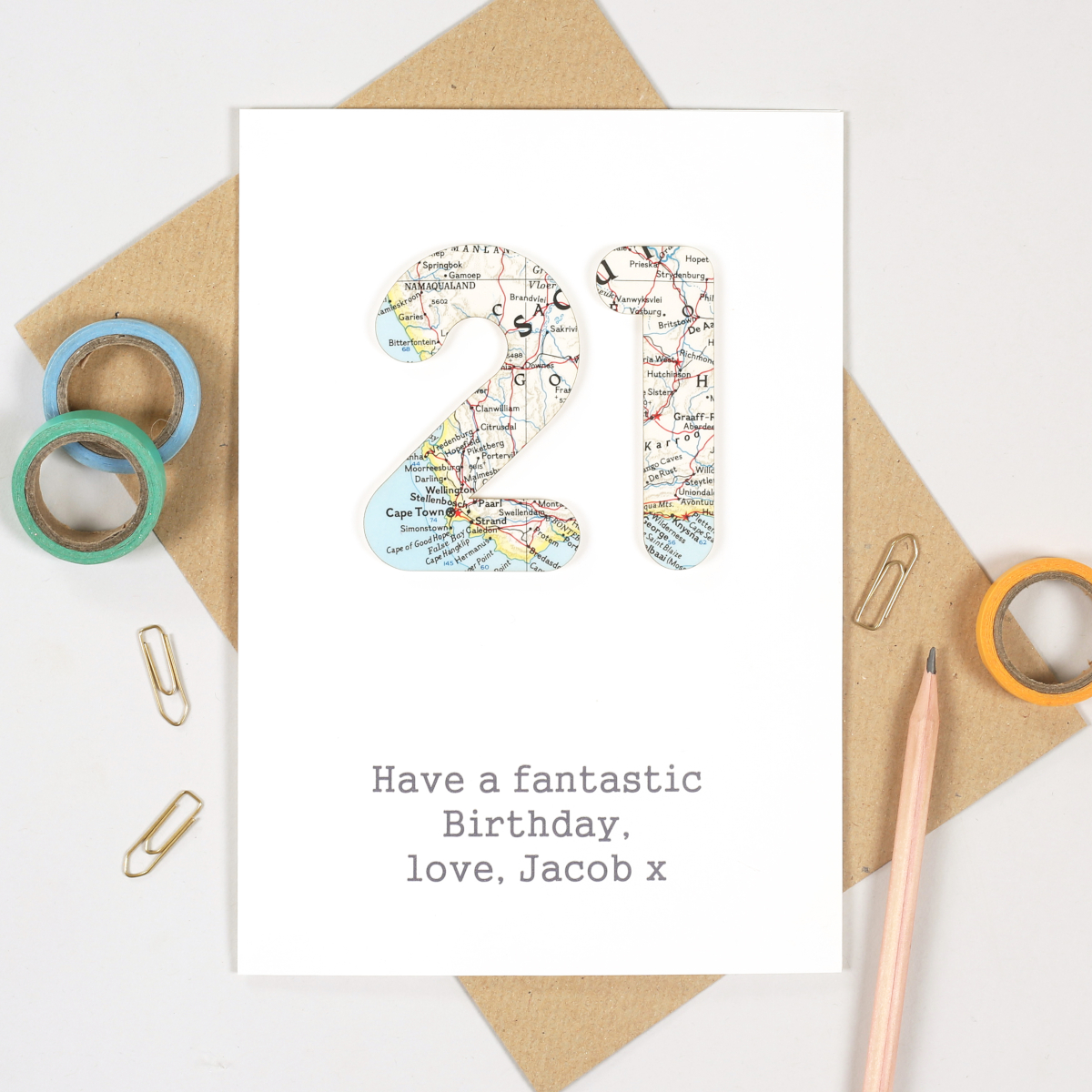 Personalised Map Number Age Card, from Bombus as a perfect birthday gift for her