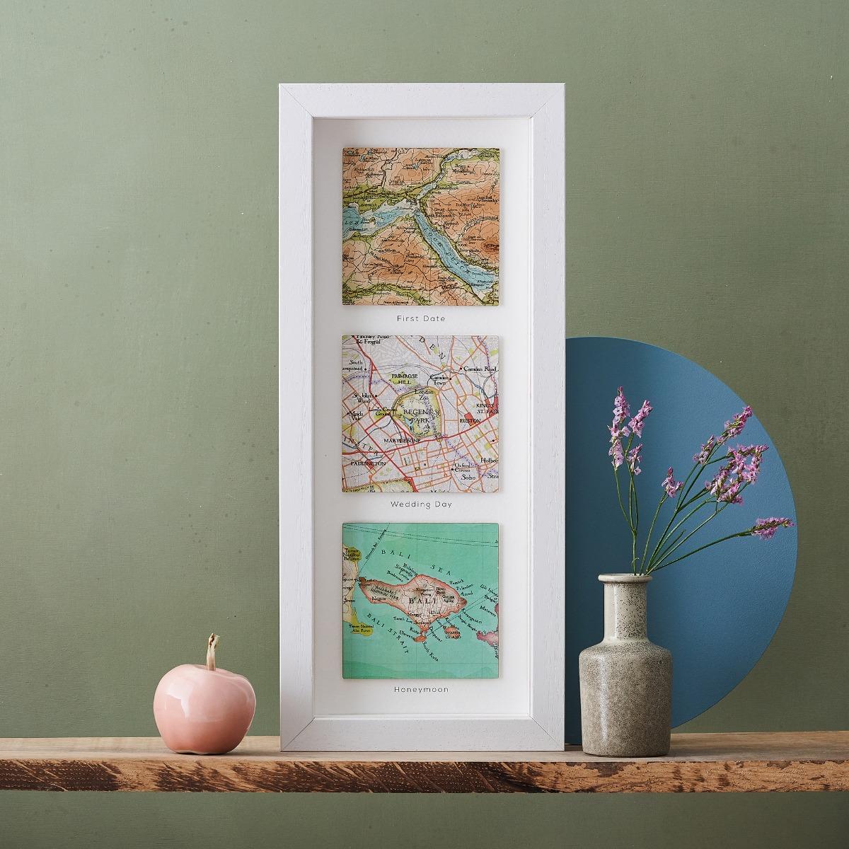 Three Map Framed Print made at the Bombus Studio, Faversham
