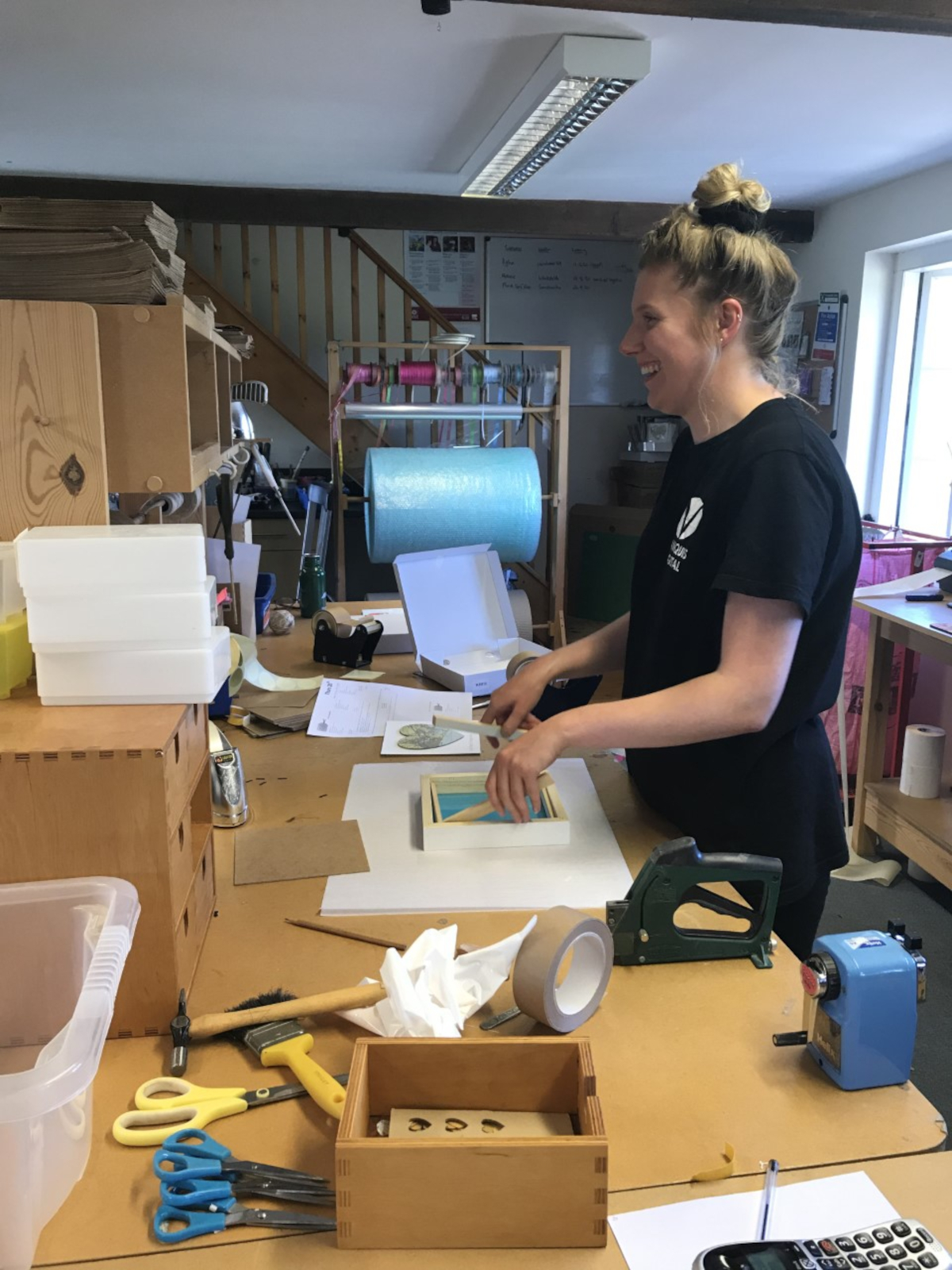Alice in the studio making some of our thank you gifts