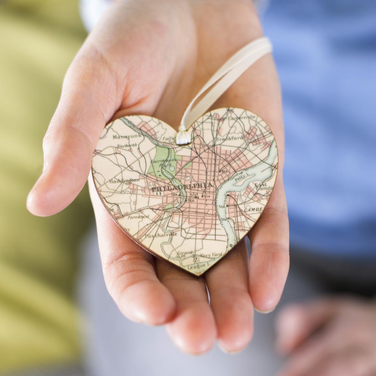 A hanging heart map keepsake thank you gift