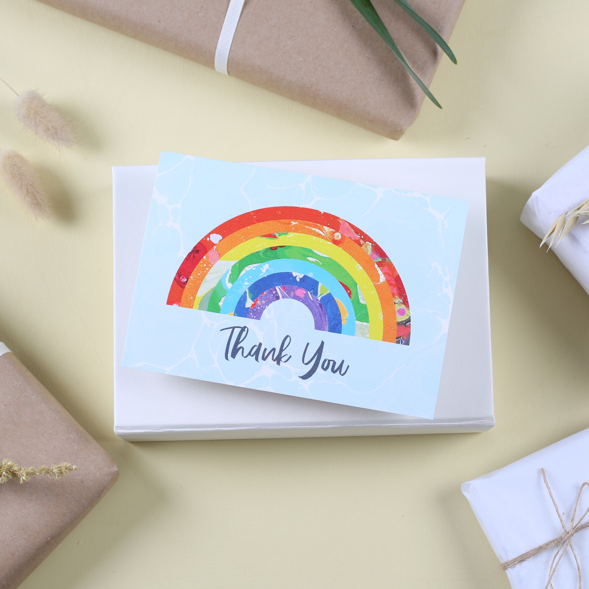 A rainbow thank you card as a thank you gift