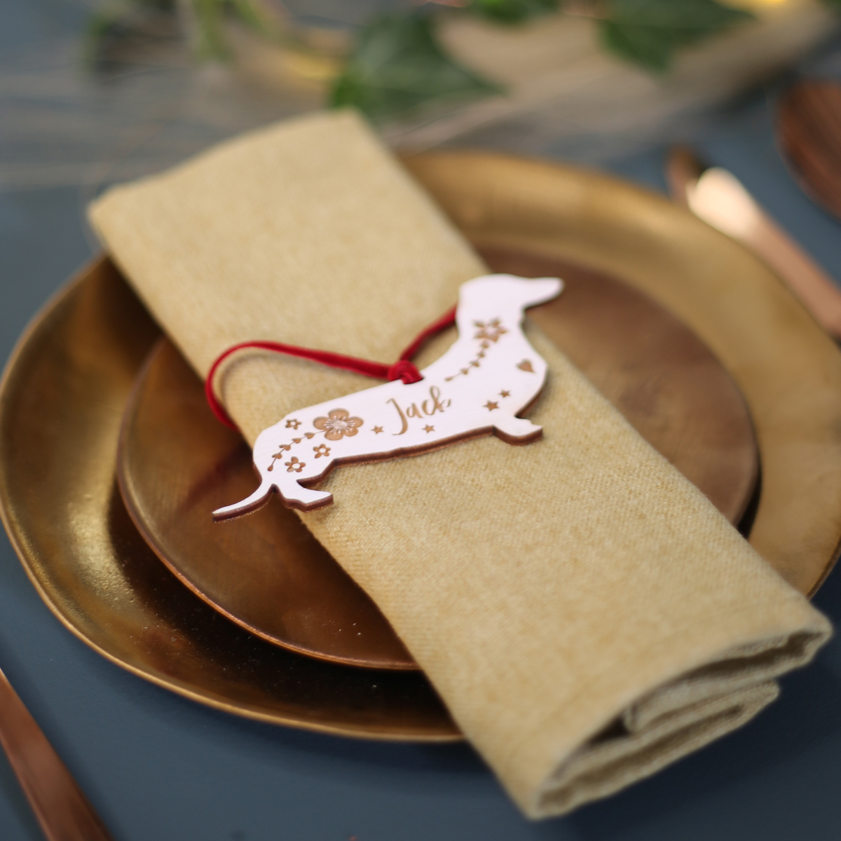 Wooden Dog Place Name for Tablescaping at Christmas